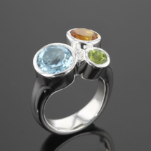 Sterling silver ring with colourful gems
