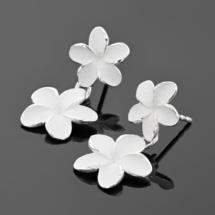 Silver frangipani earrings made in Mauritius