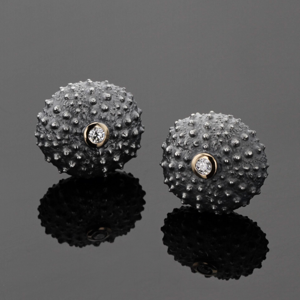 Sea urchin earrings with diamonds