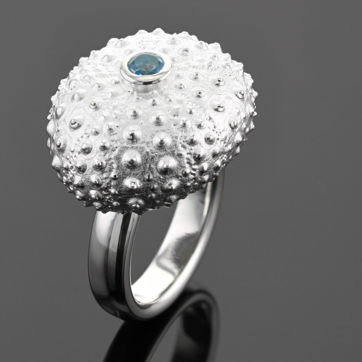Silver and blue topas sea urchin ring Mauritius