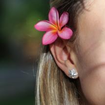 Frangipani flower earrings Mauritius