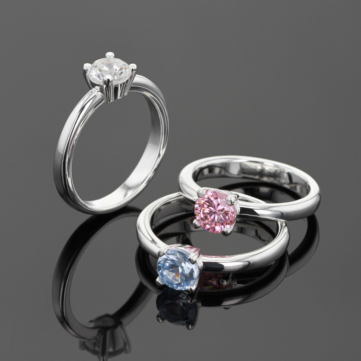 Silver zirconia rings
