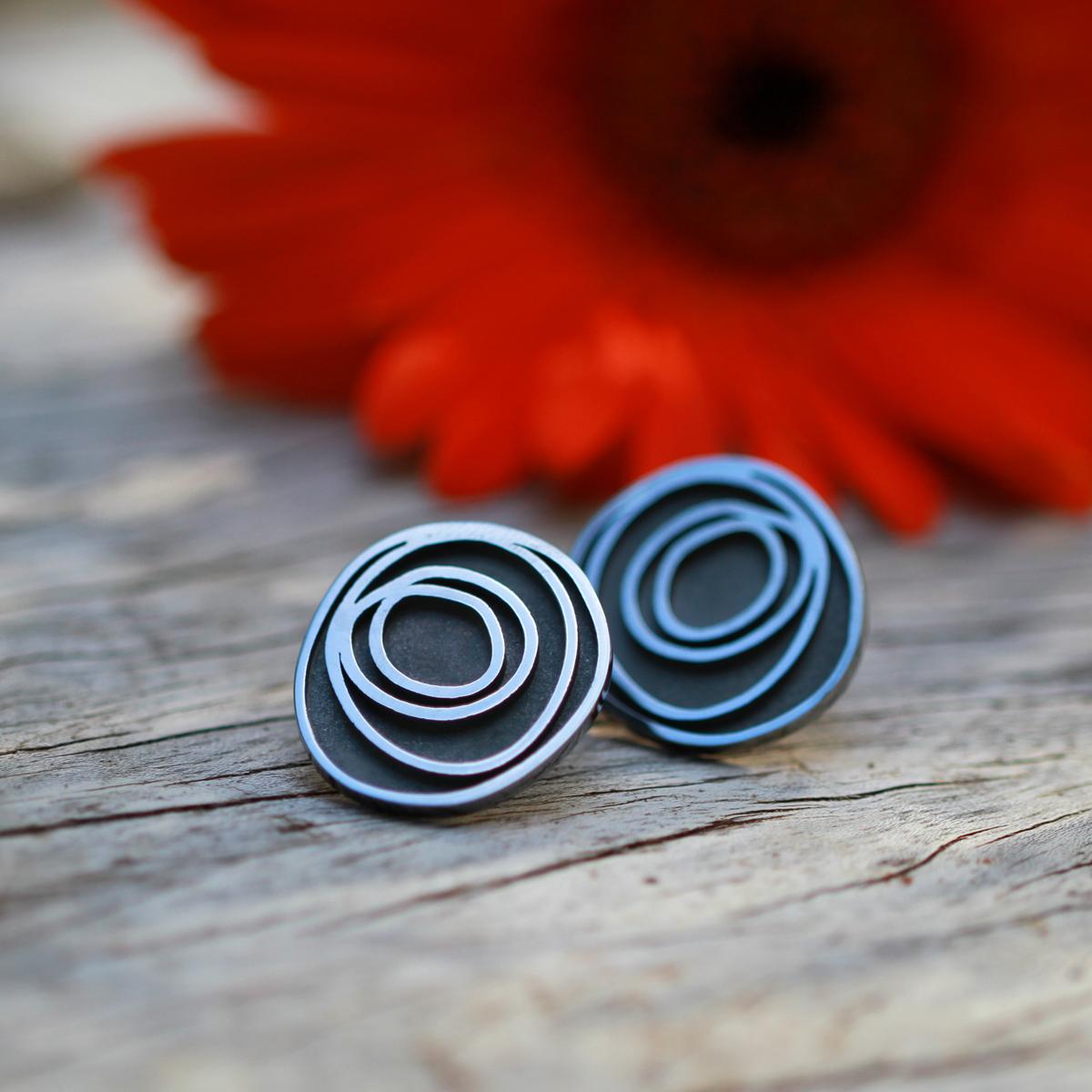 Oxidised silver earrings swirls