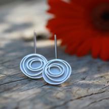 Silver earrings hook swirls