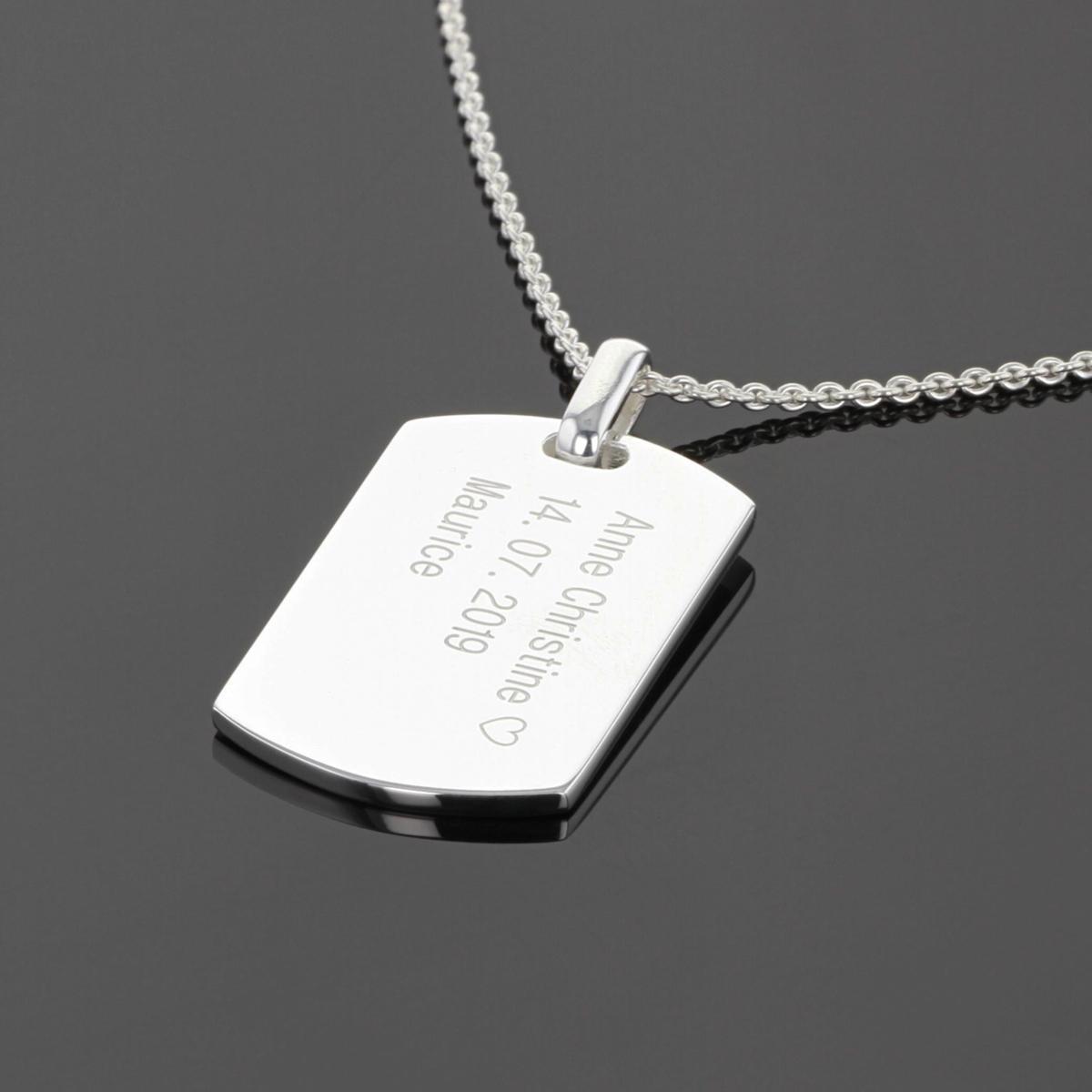 Silver dog tag pendant