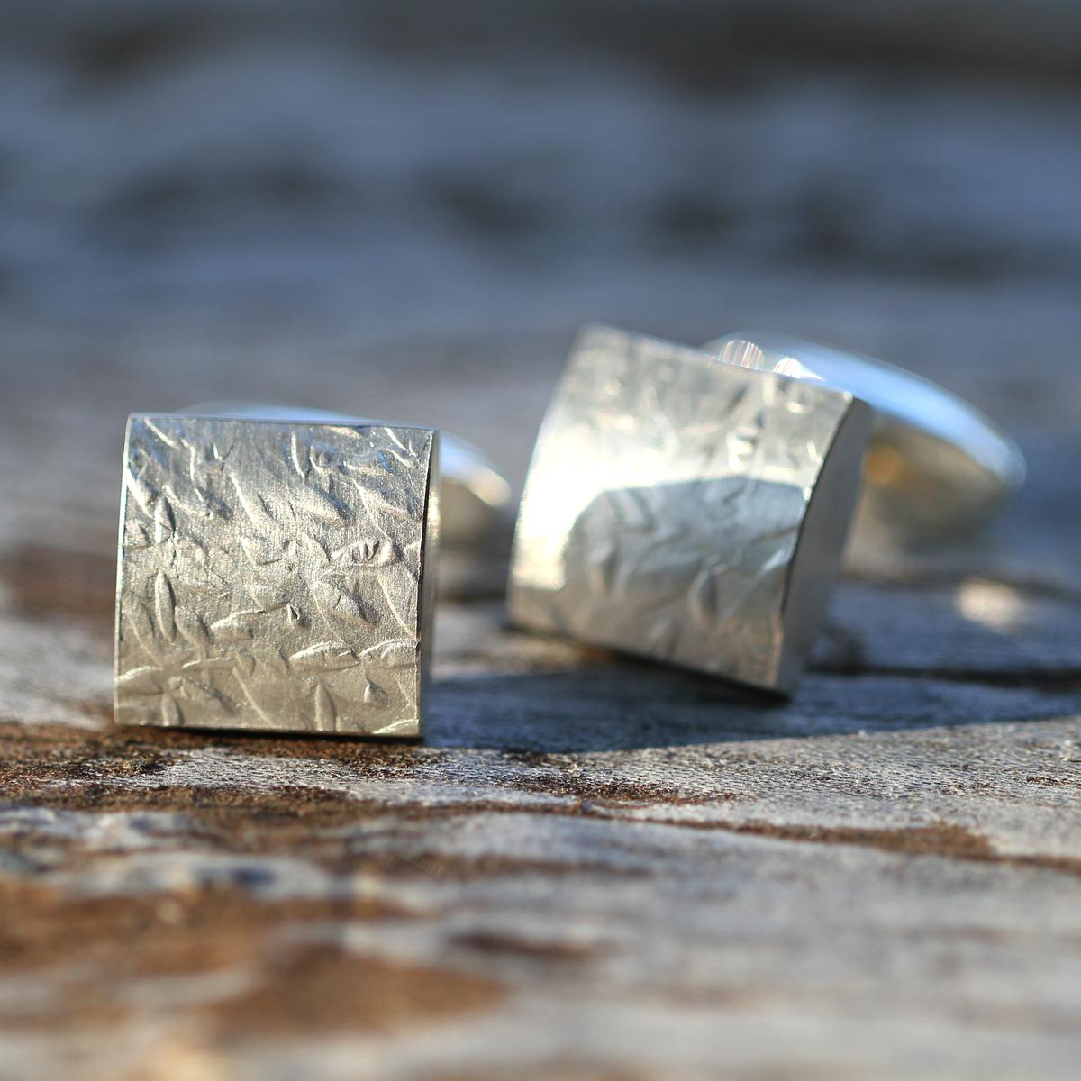 Textured silver cufflinks for men